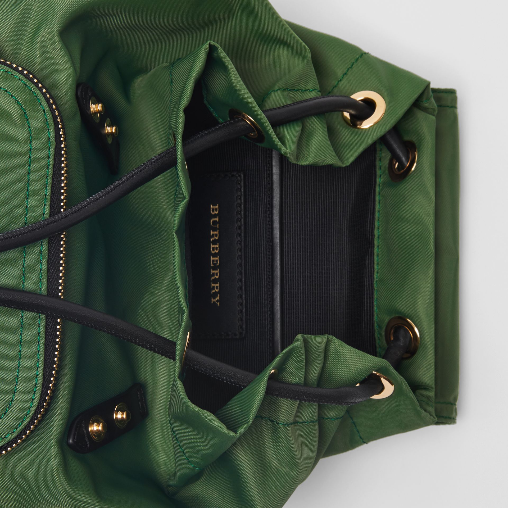 The Small Crossbody Rucksack in Nylon in Racing Green - Women | Burberry United Kingdom - gallery image 5