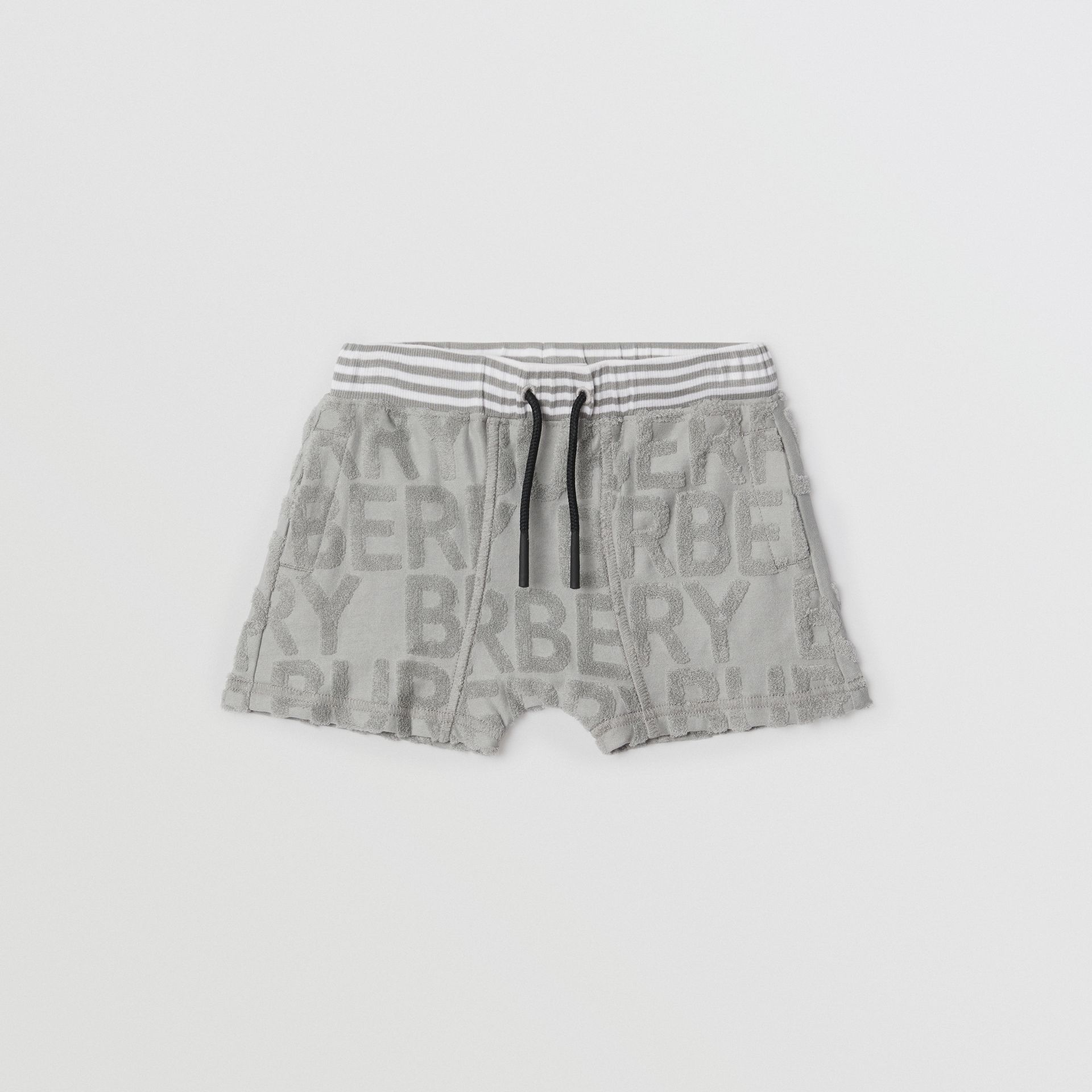 Logo Towelling Drawcord Shorts in Pale Grey - Children | Burberry Hong Kong - gallery image 0