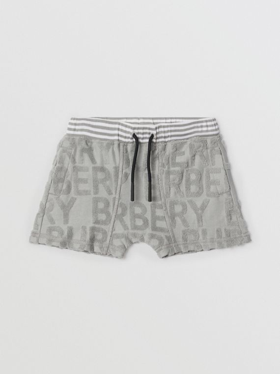 Logo Towelling Drawcord Shorts in Pale Grey