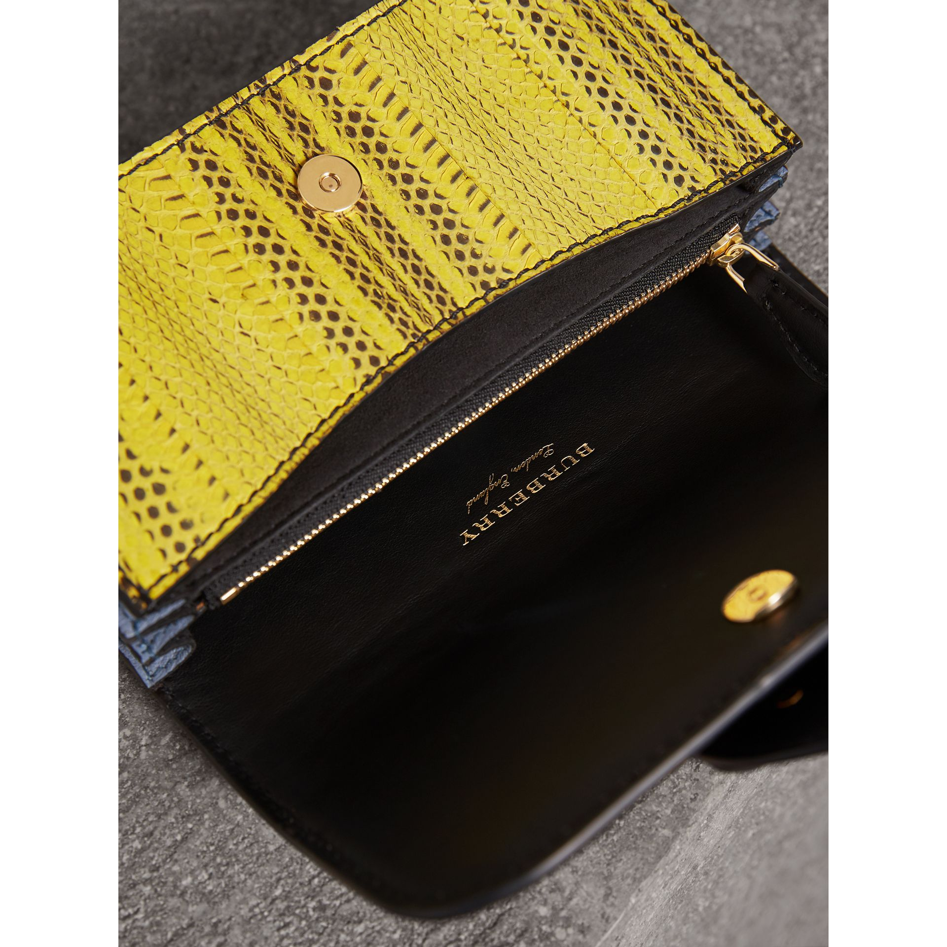The Small Buckle Bag in Scallop Trim Snakeskin in Yellow - Women | Burberry Australia - gallery image 6