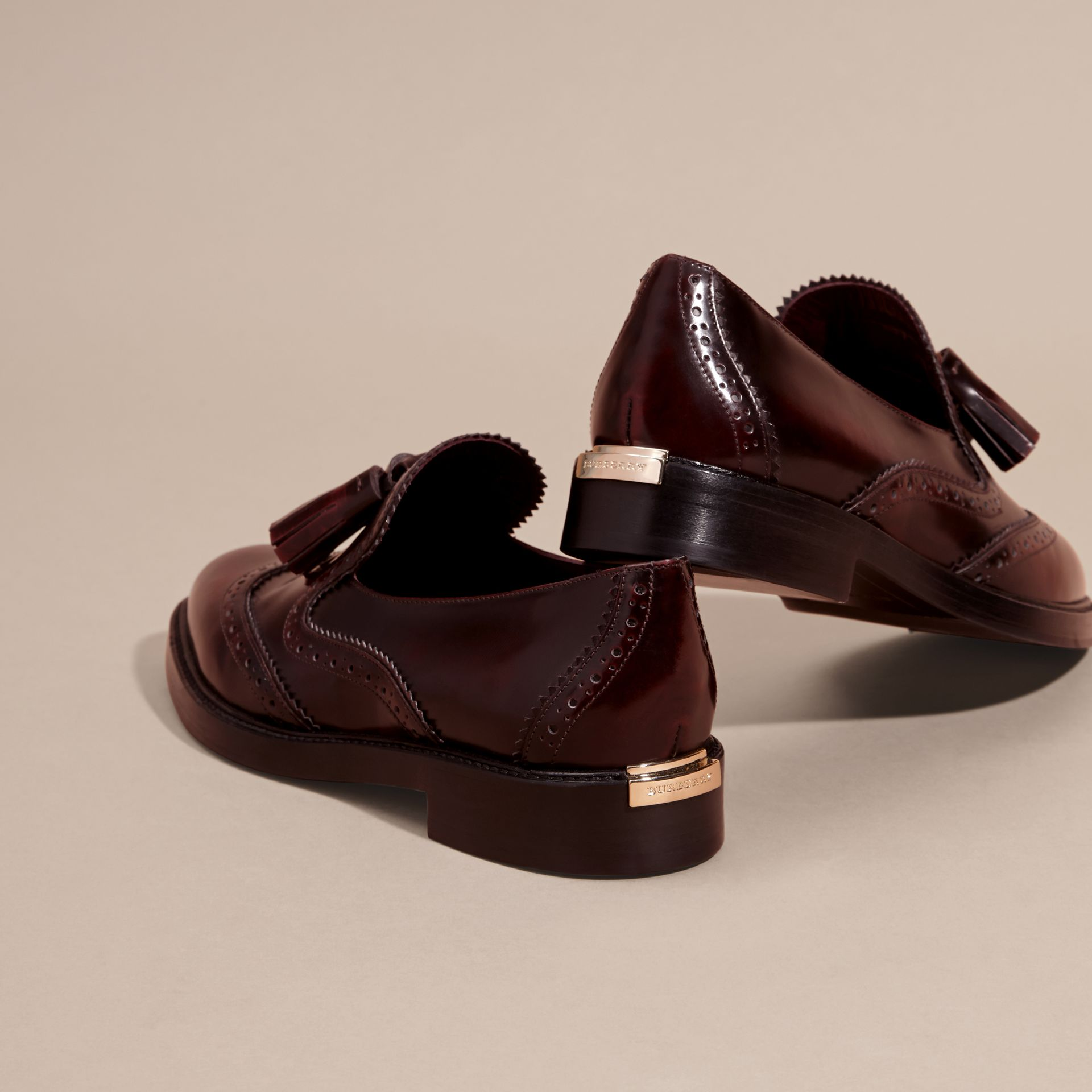 Bordeaux Dégradé Tassel Detail Leather Loafers - gallery image 4