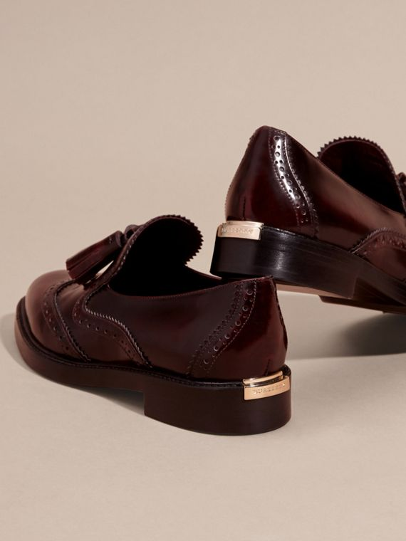 Bordeaux Dégradé Tassel Detail Leather Loafers - cell image 3
