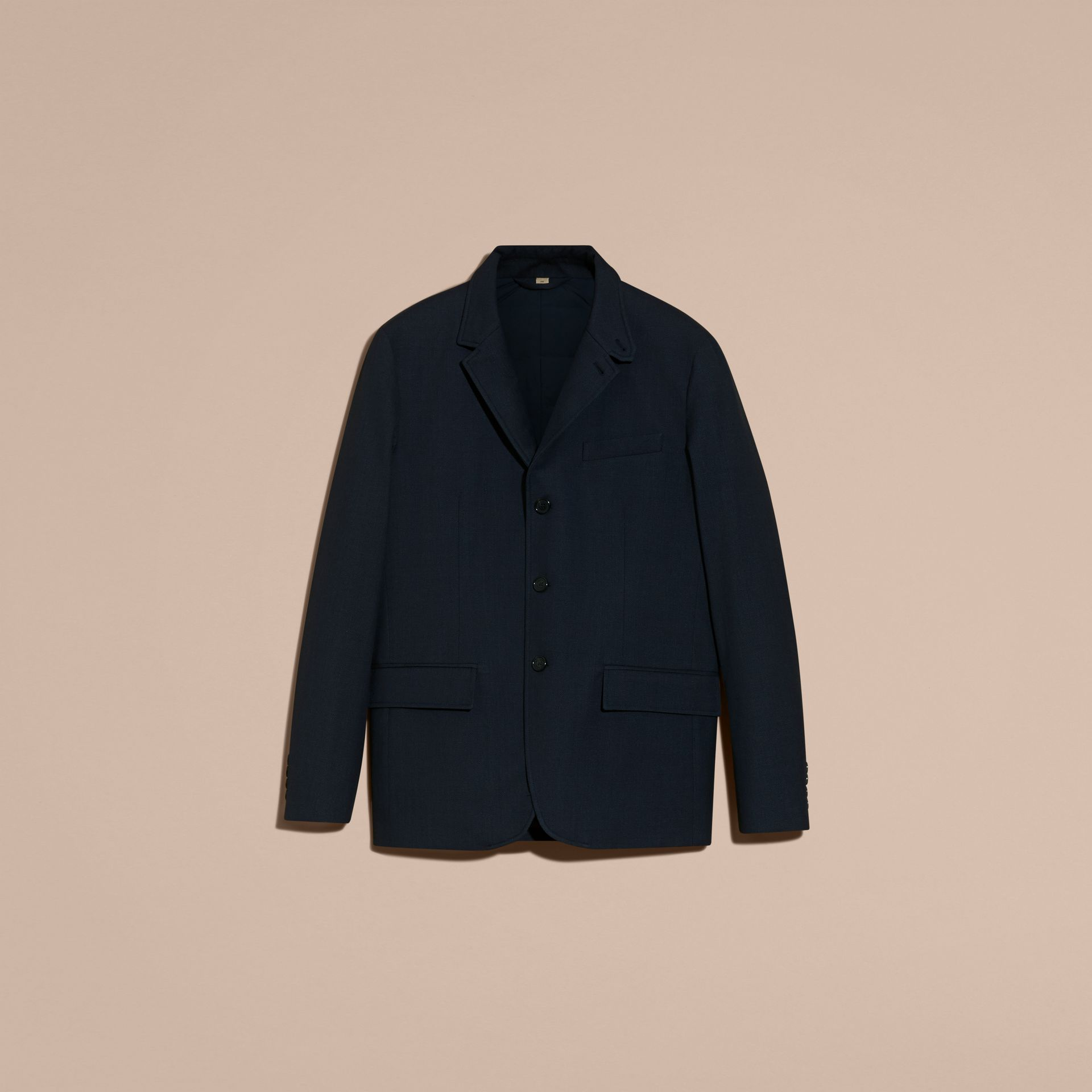 Storm blue Modern Fit Down-filled Tailored Wool Jacket - gallery image 4