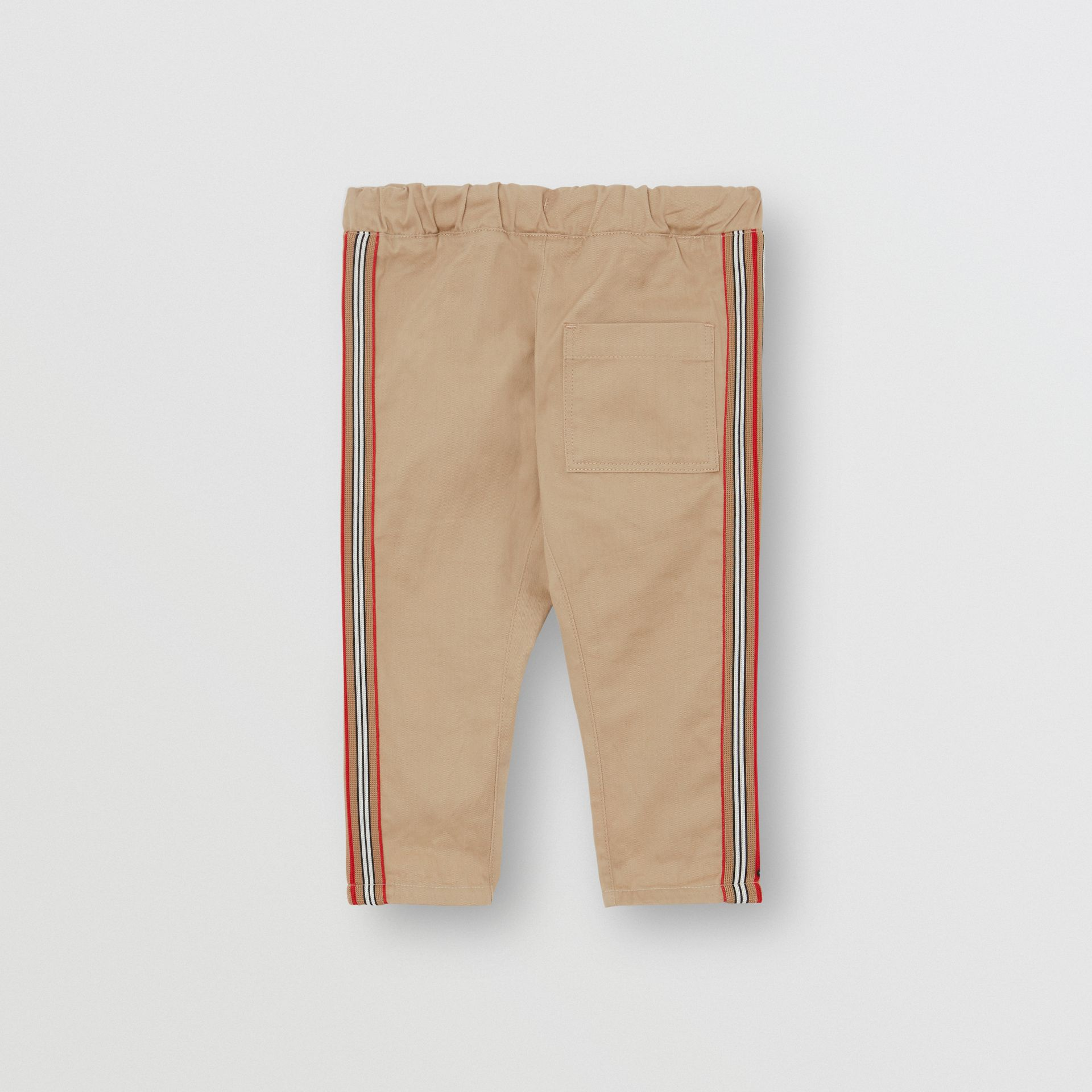 Icon Stripe Detail Cotton Chinos in Honey - Children | Burberry - gallery image 3