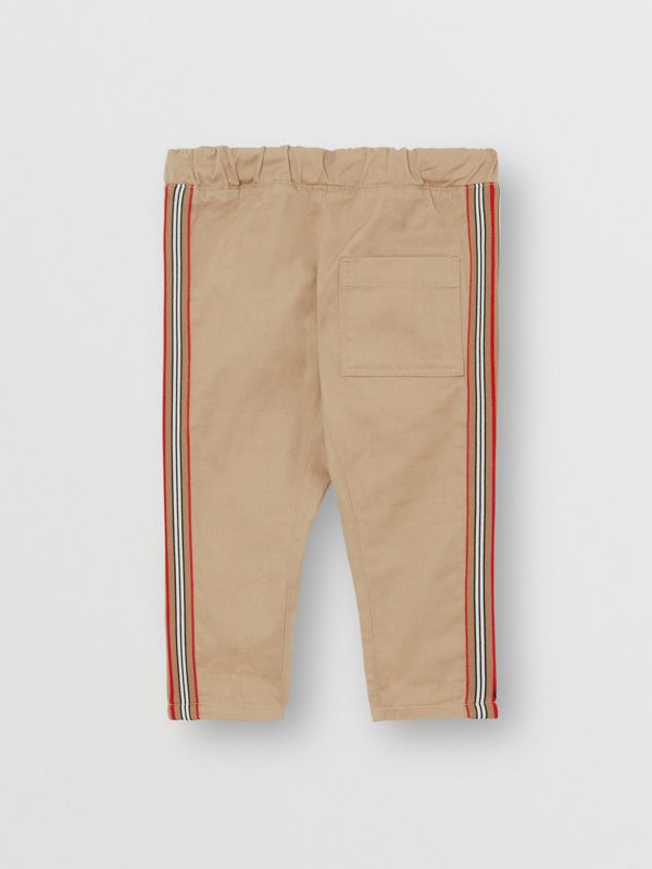 Icon Stripe Detail Cotton Chinos in Honey - Children | Burberry - cell image 3