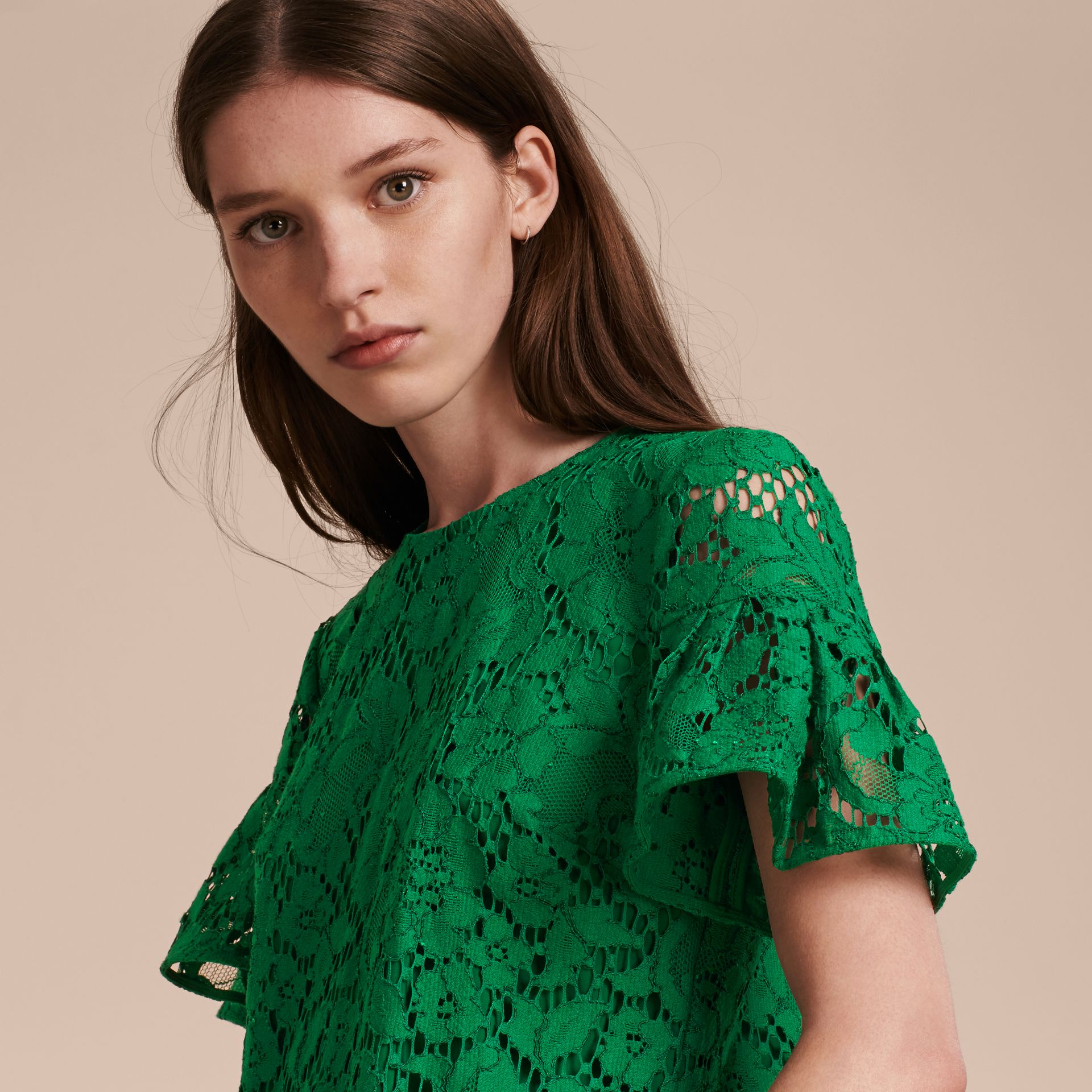 Macramé Lace Shift Dress with Ruffle Sleeves Kelly Green - gallery image 5