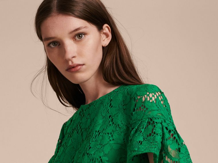 Macramé Lace Shift Dress with Ruffle Sleeves Kelly Green - cell image 4