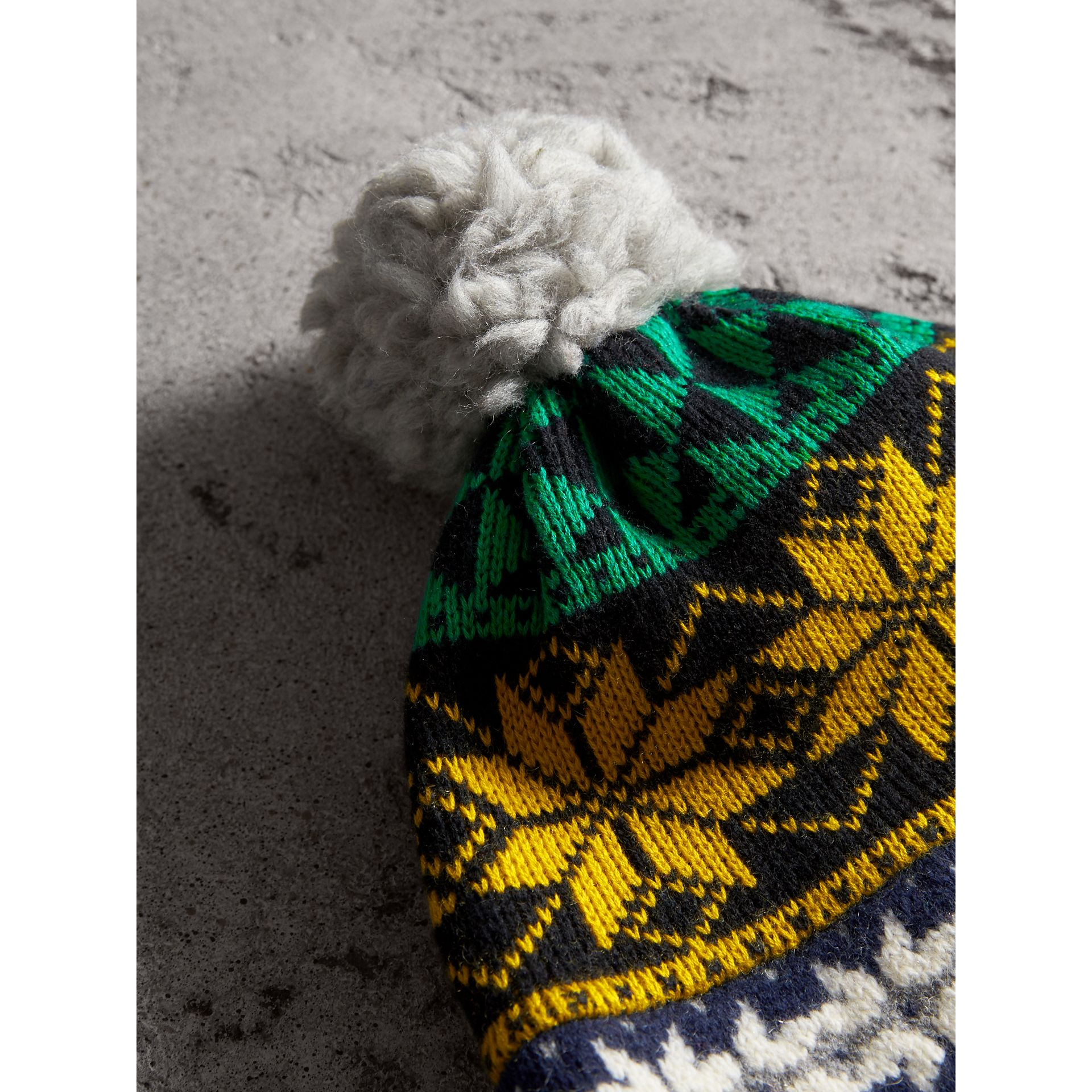 Pom-pom Fair Isle Wool Cashmere Beanie in Bright Yellow | Burberry Australia - gallery image 1