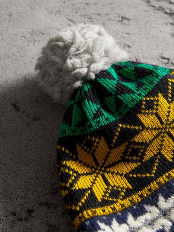 Pom-pom Fair Isle Wool Cashmere Beanie in Bright Yellow - Women | Burberry United Kingdom - cell image 1