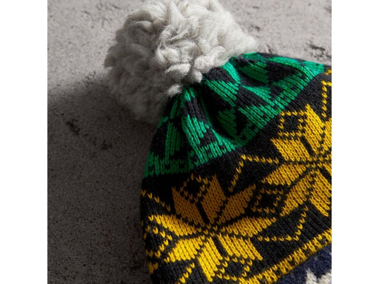 Pom-pom Fair Isle Wool Cashmere Beanie in Bright Yellow | Burberry Australia - cell image 1