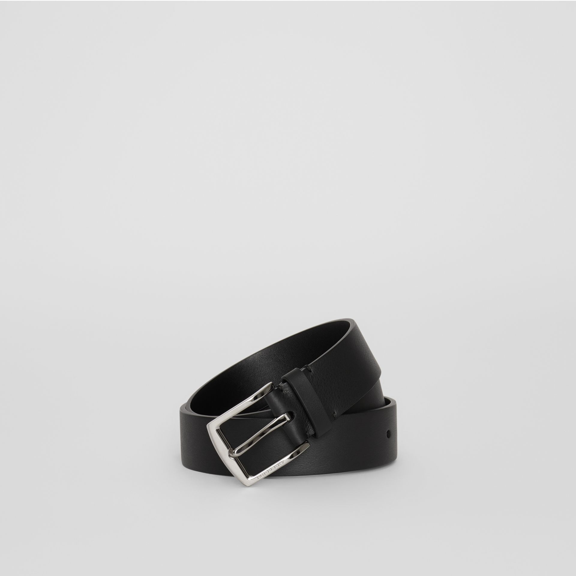 Embossed Crest Leather Belt in Black - Men | Burberry - gallery image 0