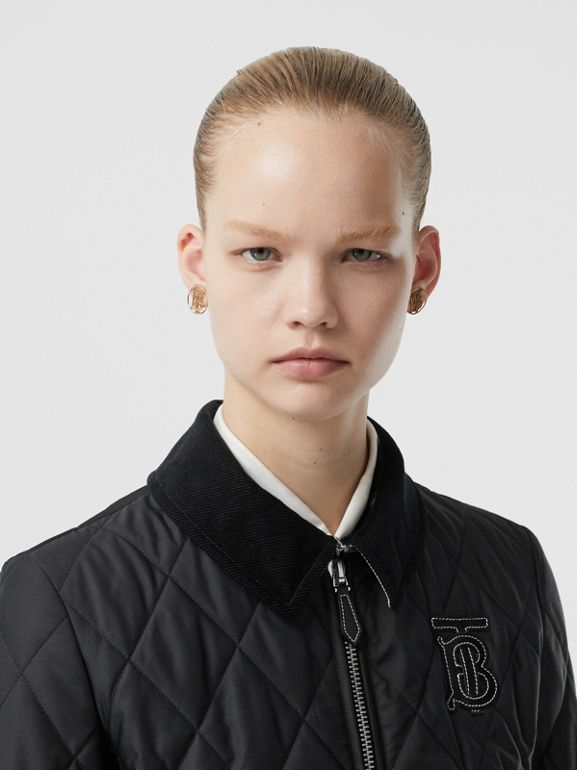 Monogram Motif Quilted Riding Jacket in Black - Women | Burberry - cell image 1