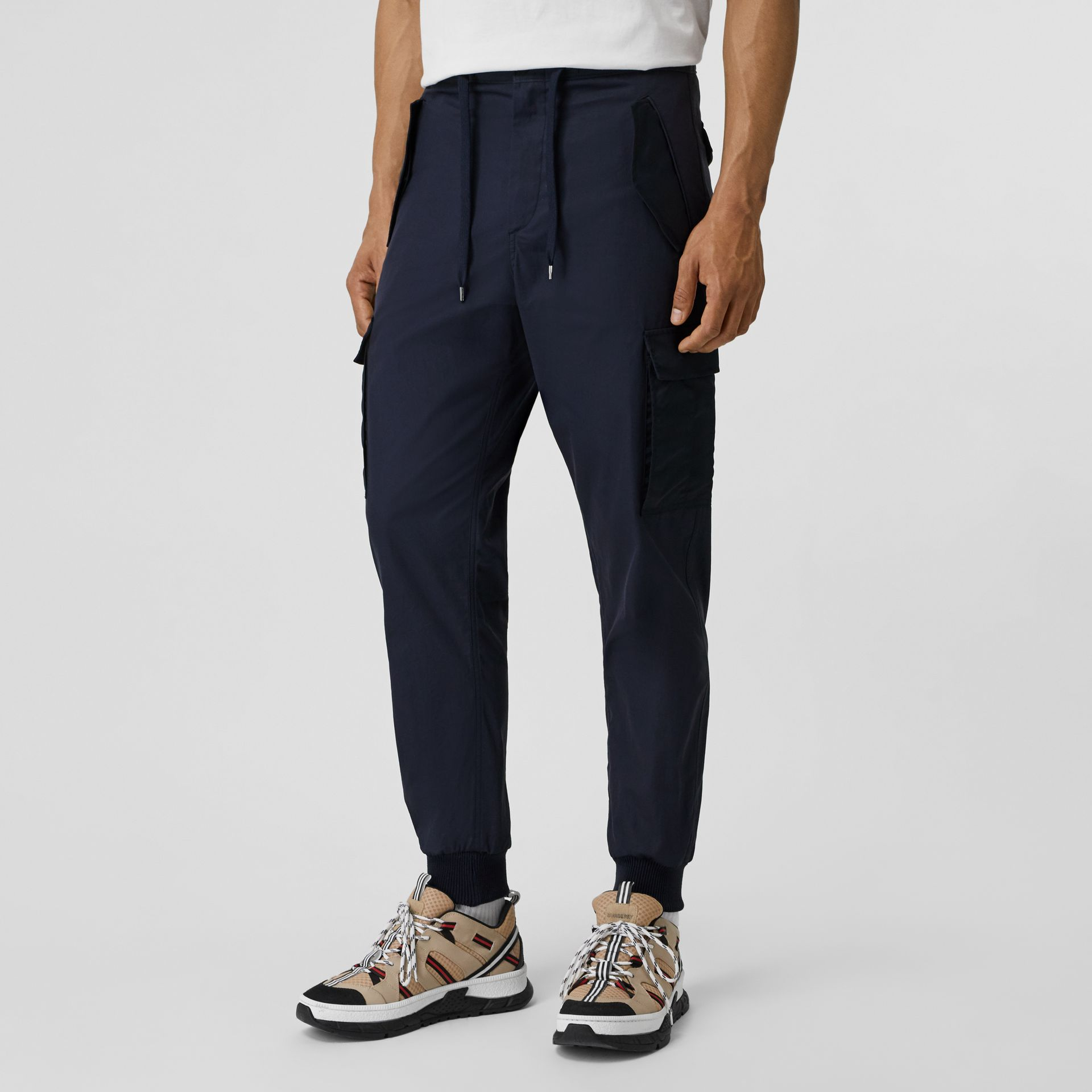 Cotton Tapered Cargo Trousers in Navy - Men | Burberry Australia - gallery image 4