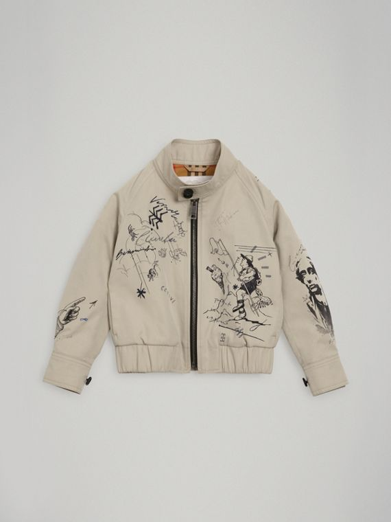 Adventure Print Gabardine Harrington Jacket in Stone