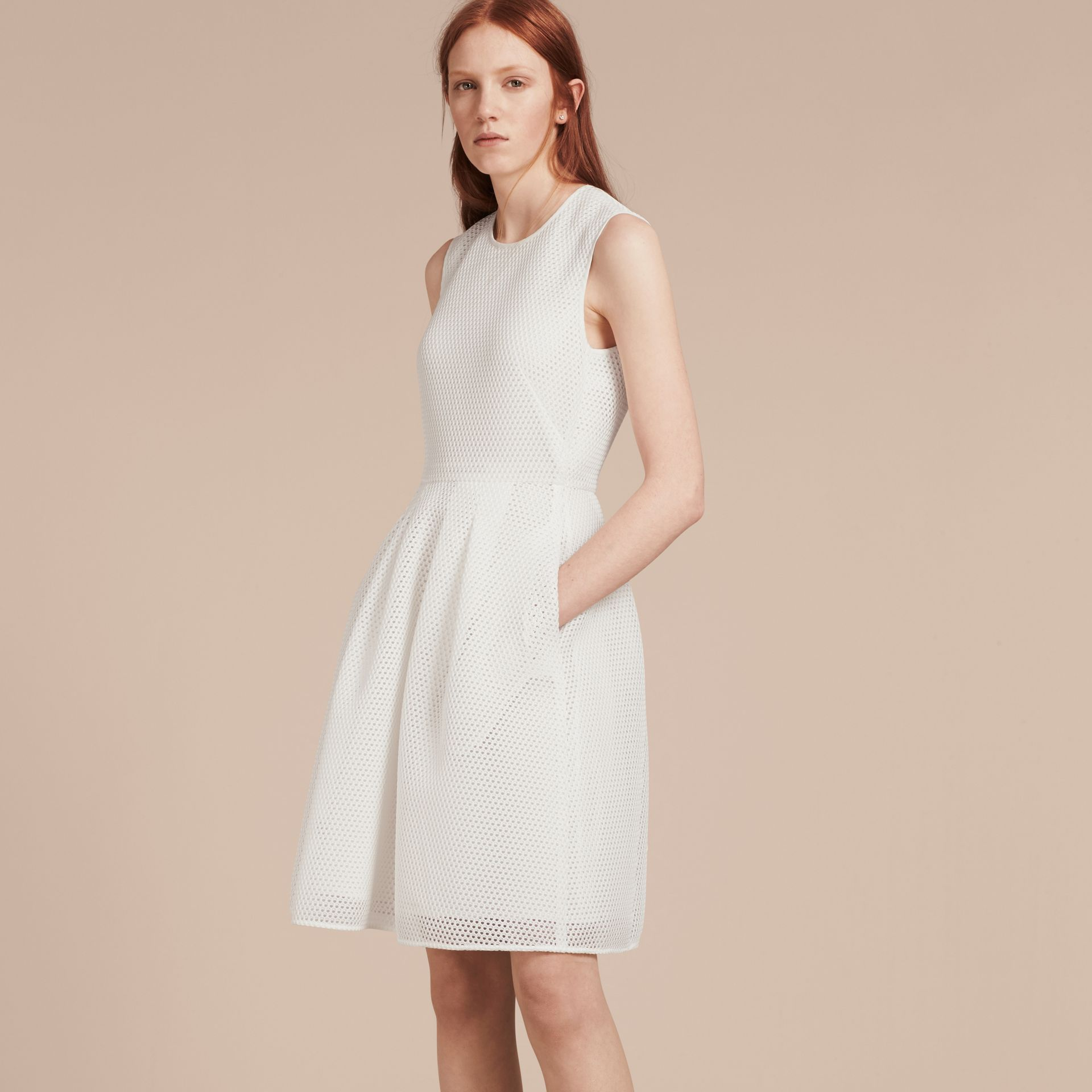 White Mesh Fit and Flare Dress - gallery image 1