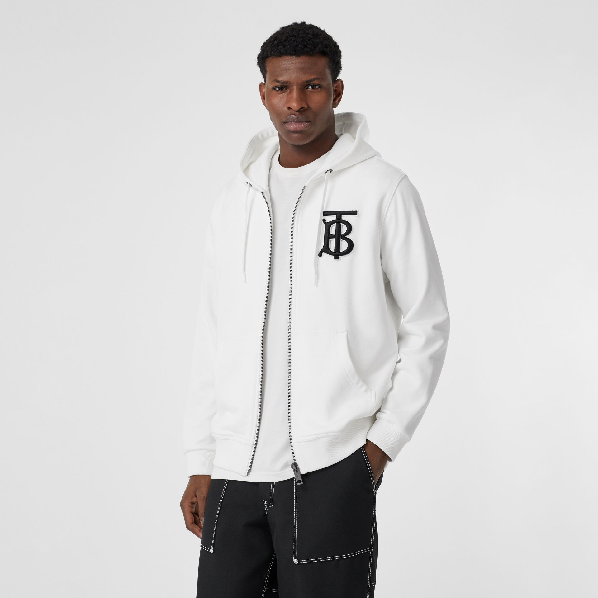 Monogram Motif Cotton Hooded Top in White - Men | Burberry - gallery image 0