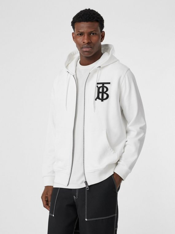 Monogram Motif Cotton Hooded Top in White