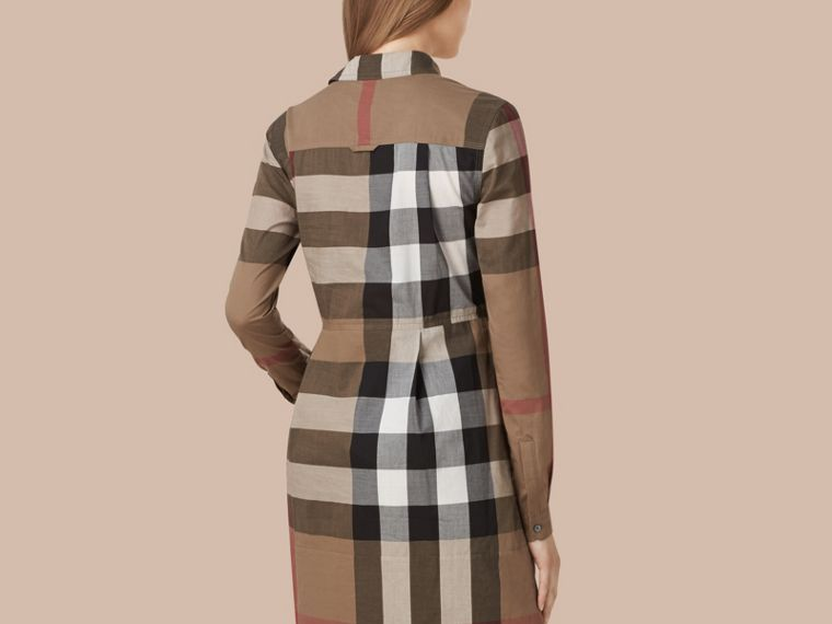 Taupe brown Check Cotton Shirt Dress Taupe Brown - cell image 1