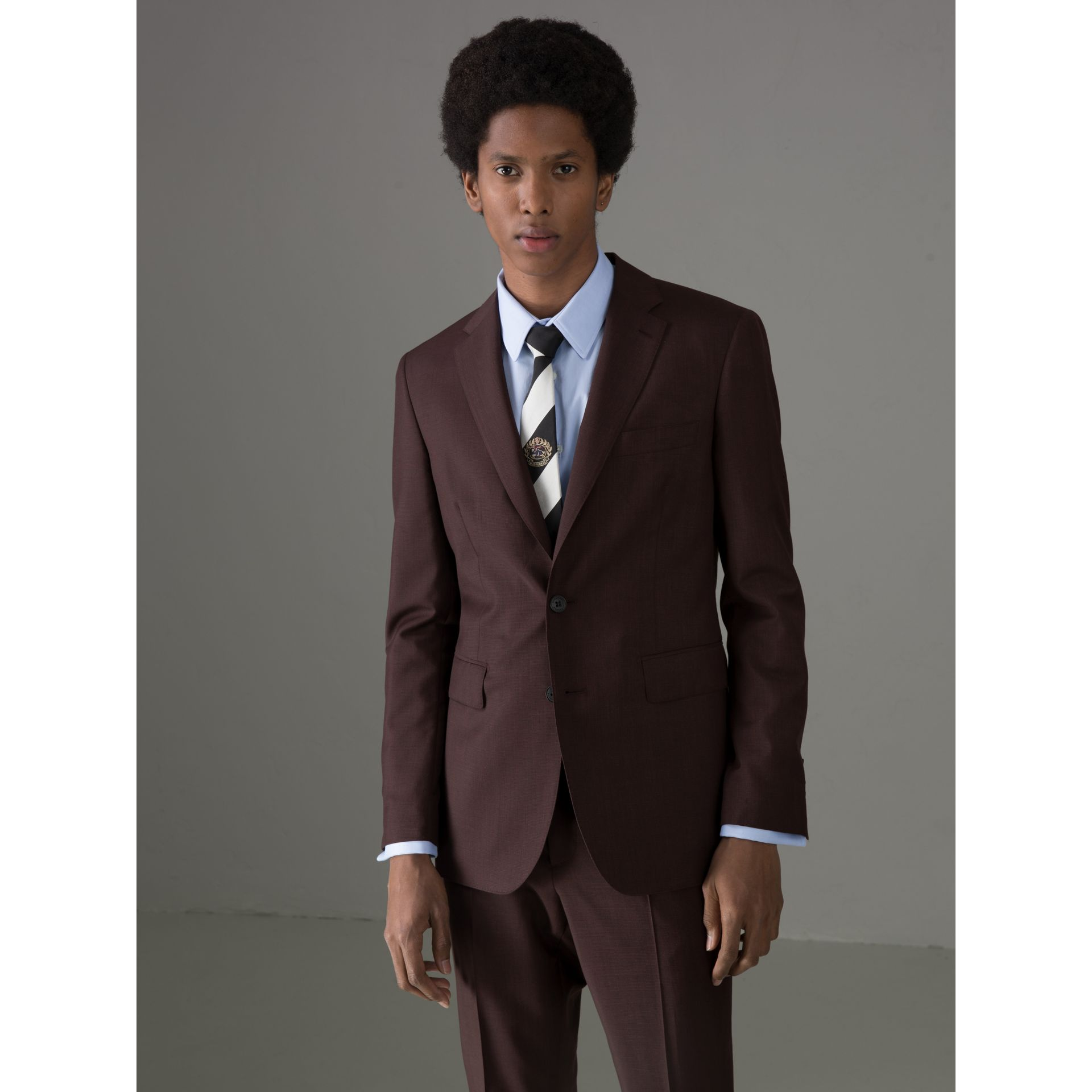 Soho Fit Puppytooth Wool Mohair Suit in Burgundy - Men | Burberry - gallery image 5