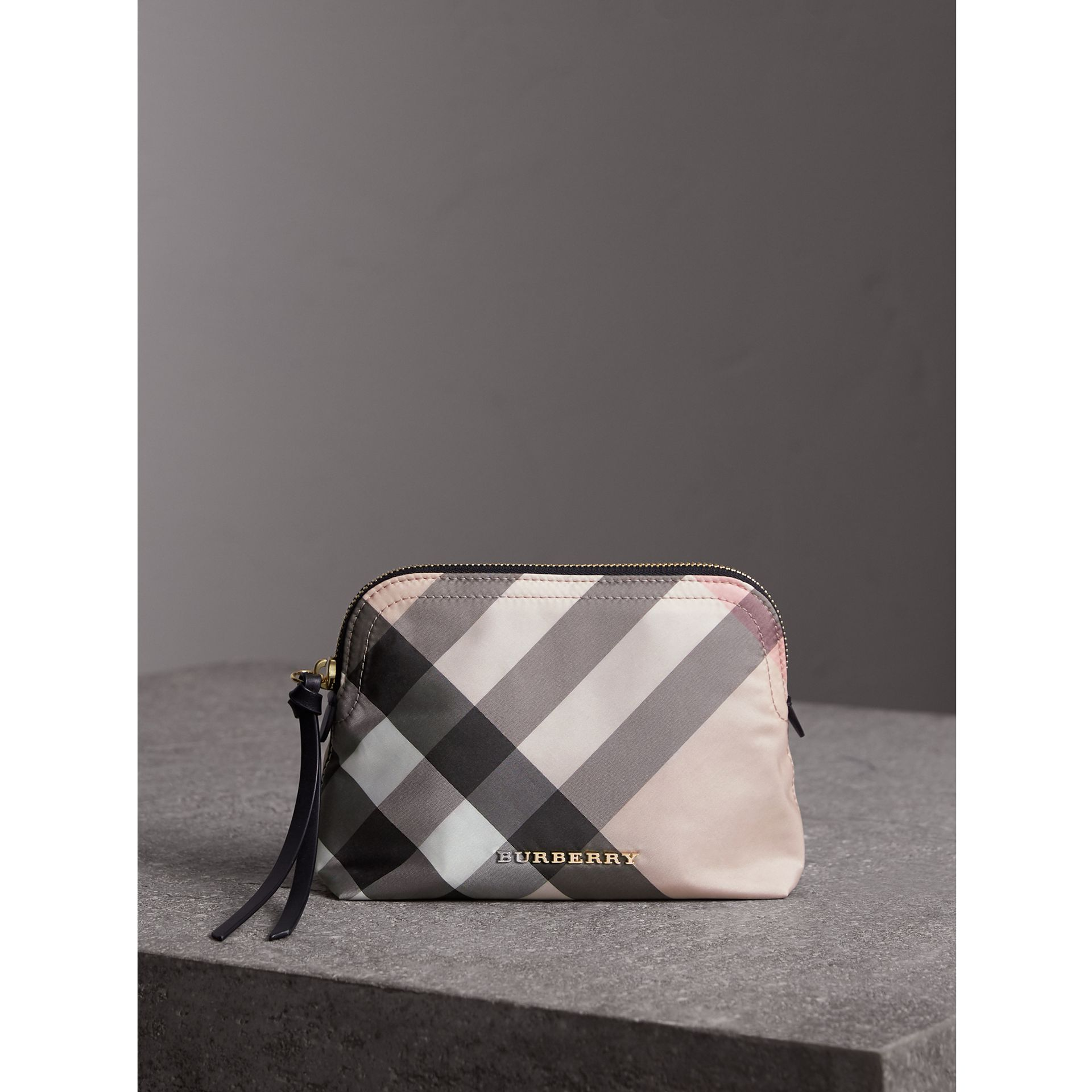 Medium Zip-top Check Technical Pouch in Ash Rose - Women | Burberry Australia - gallery image 1