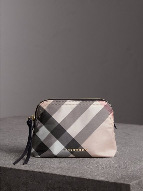 Medium Zip-top Check Technical Pouch in Ash Rose - Women | Burberry