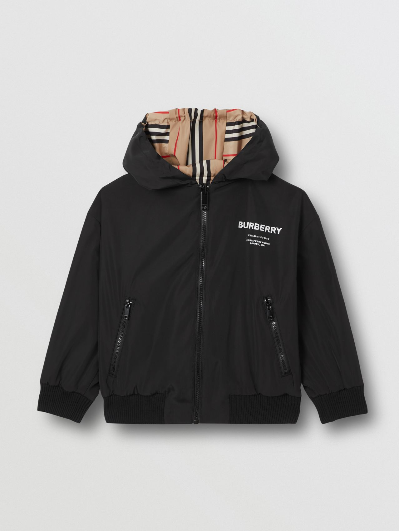 Reversible Icon Stripe Hooded Jacket in Black