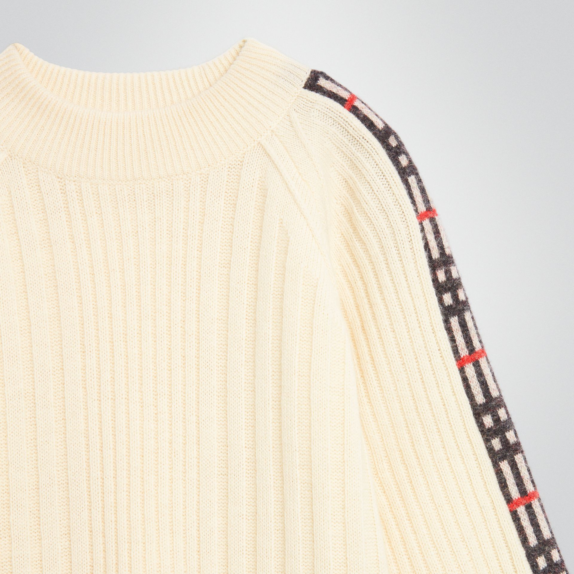 Check Detail Wool Cashmere Sweater in Ivory | Burberry Australia - gallery image 4