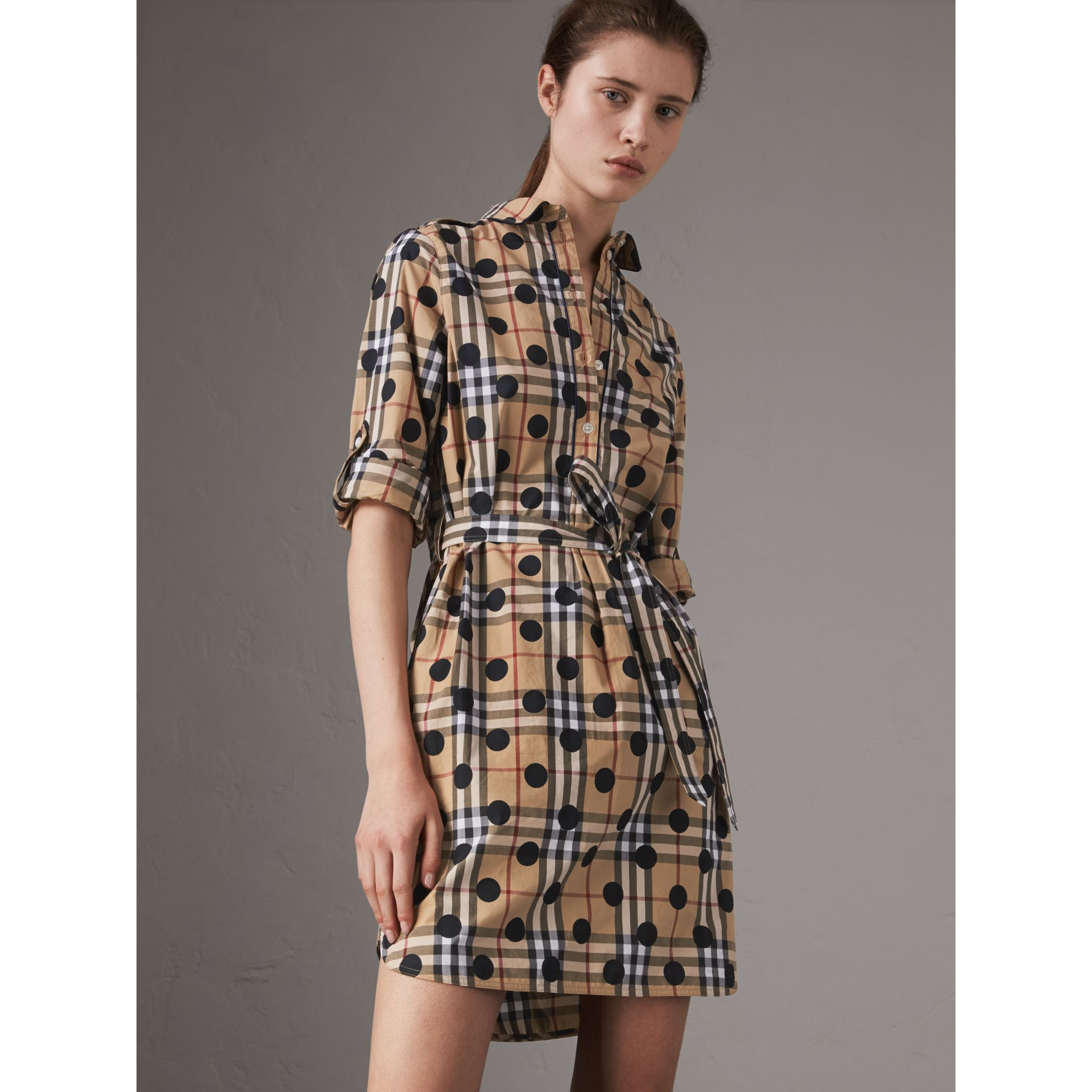 Polka-dot Print Check Cotton Tunic Dress in Navy - Women | Burberry Australia - gallery image 0