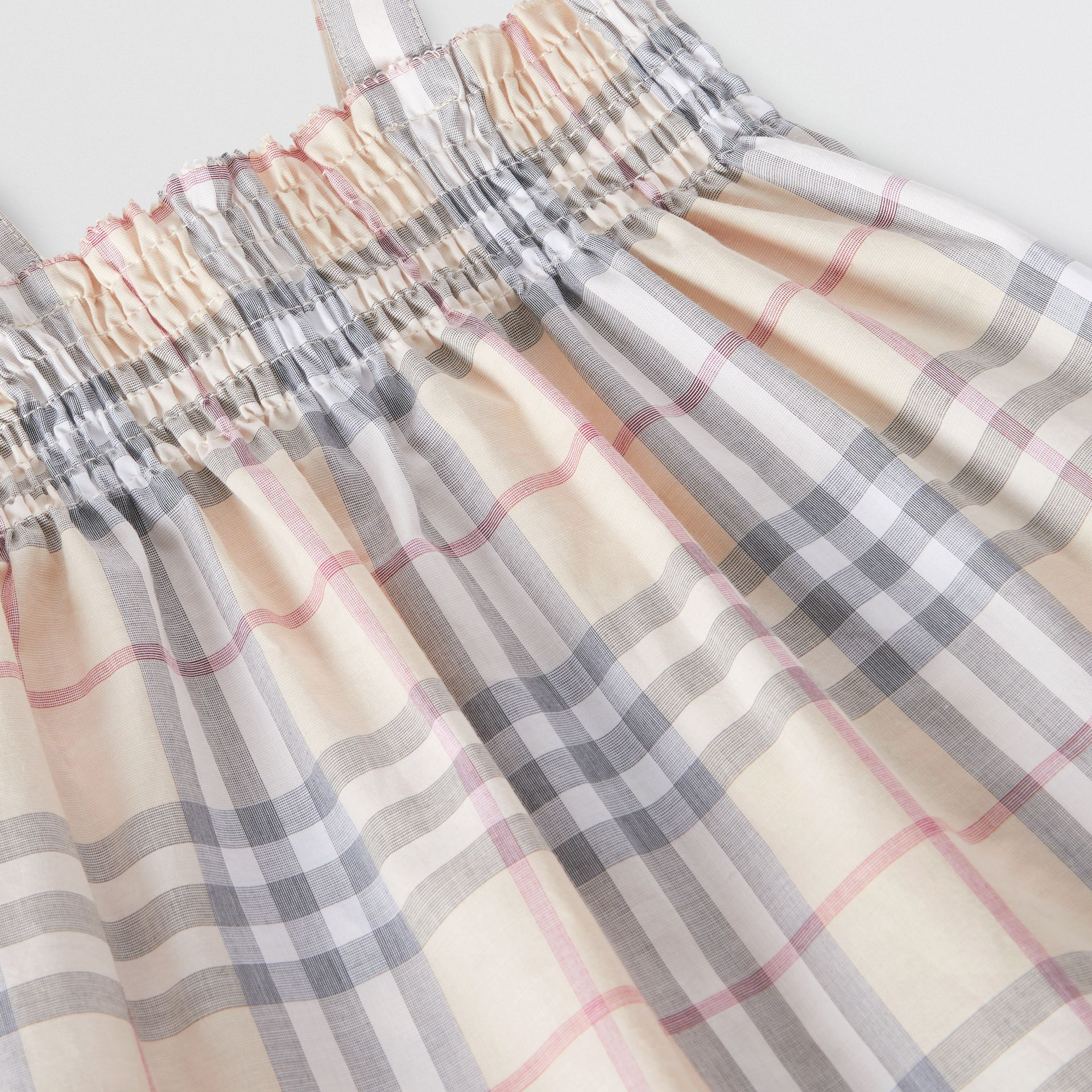 Smocked Check Cotton Dress with Bloomers in Pale Stone - Children | Burberry United Kingdom - gallery image 1