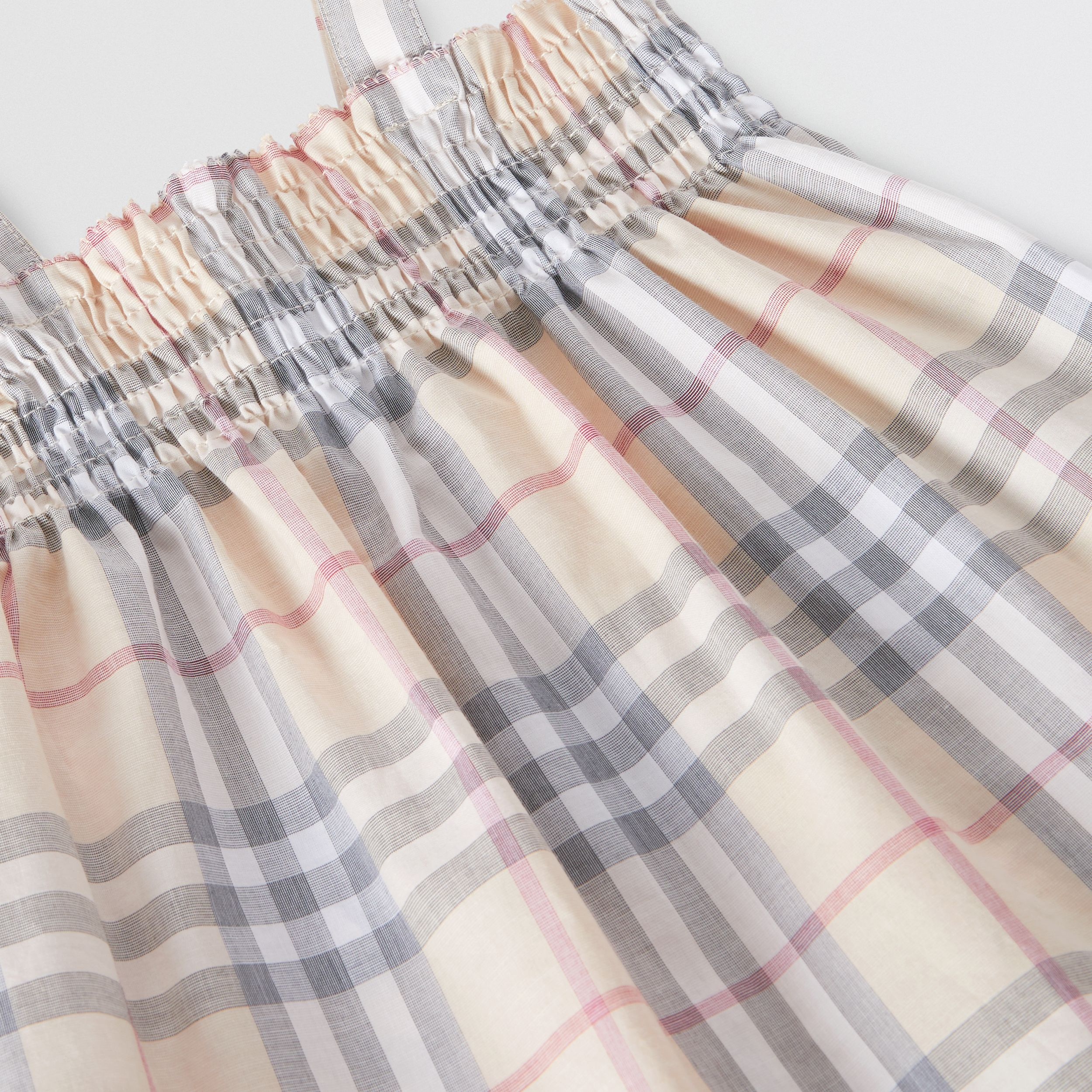 Smocked Check Cotton Dress with Bloomers in Pale Stone - Children | Burberry - 2