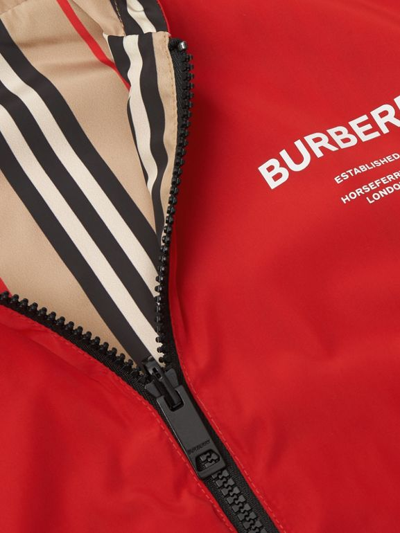 Reversible Icon Stripe Hooded Jacket in Bright Red | Burberry - cell image 1