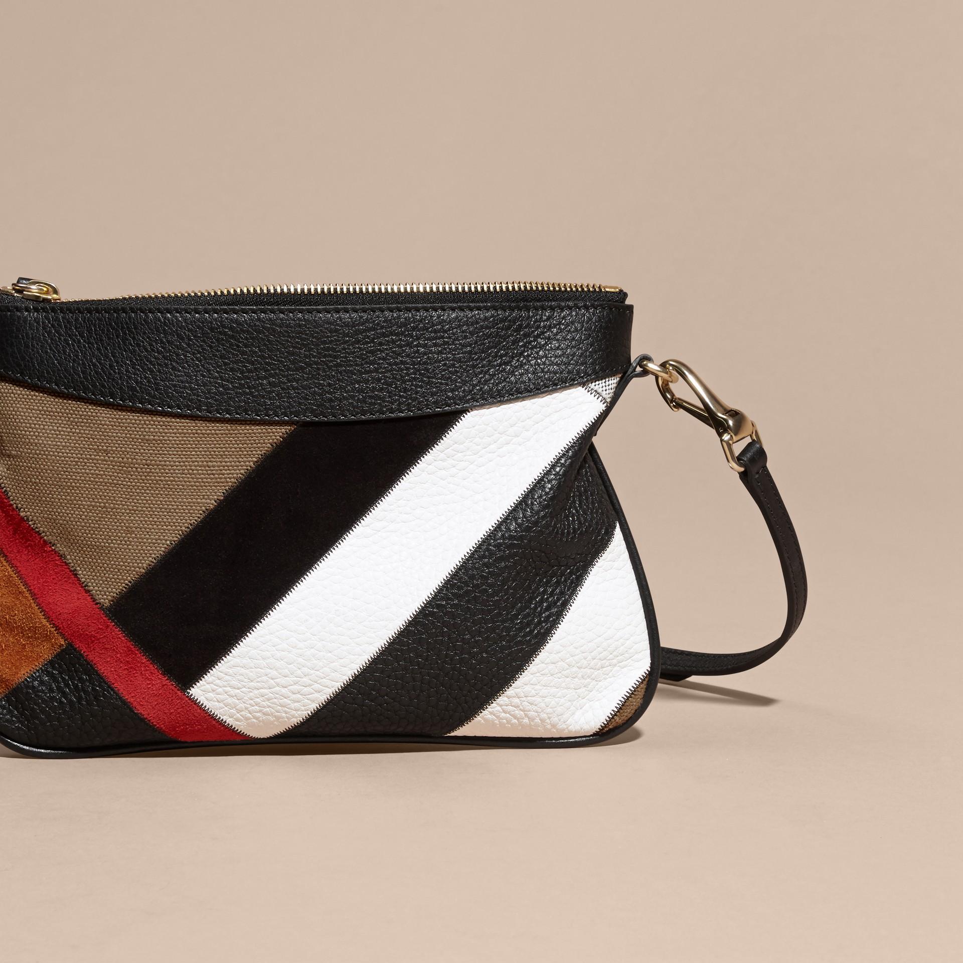 Noir Clutch façon patchwork en cuir, cuir velours et jute de coton à motif check - photo de la galerie 5