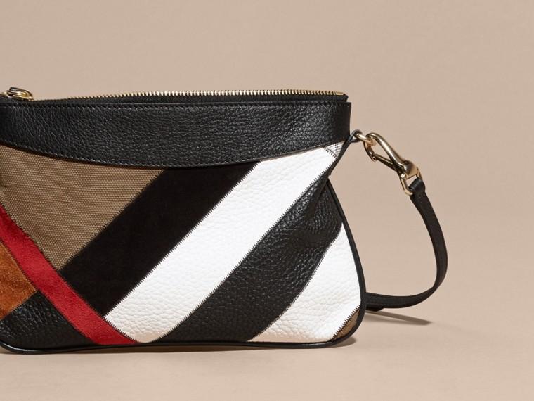 Noir Clutch façon patchwork en cuir, cuir velours et jute de coton à motif check - cell image 4