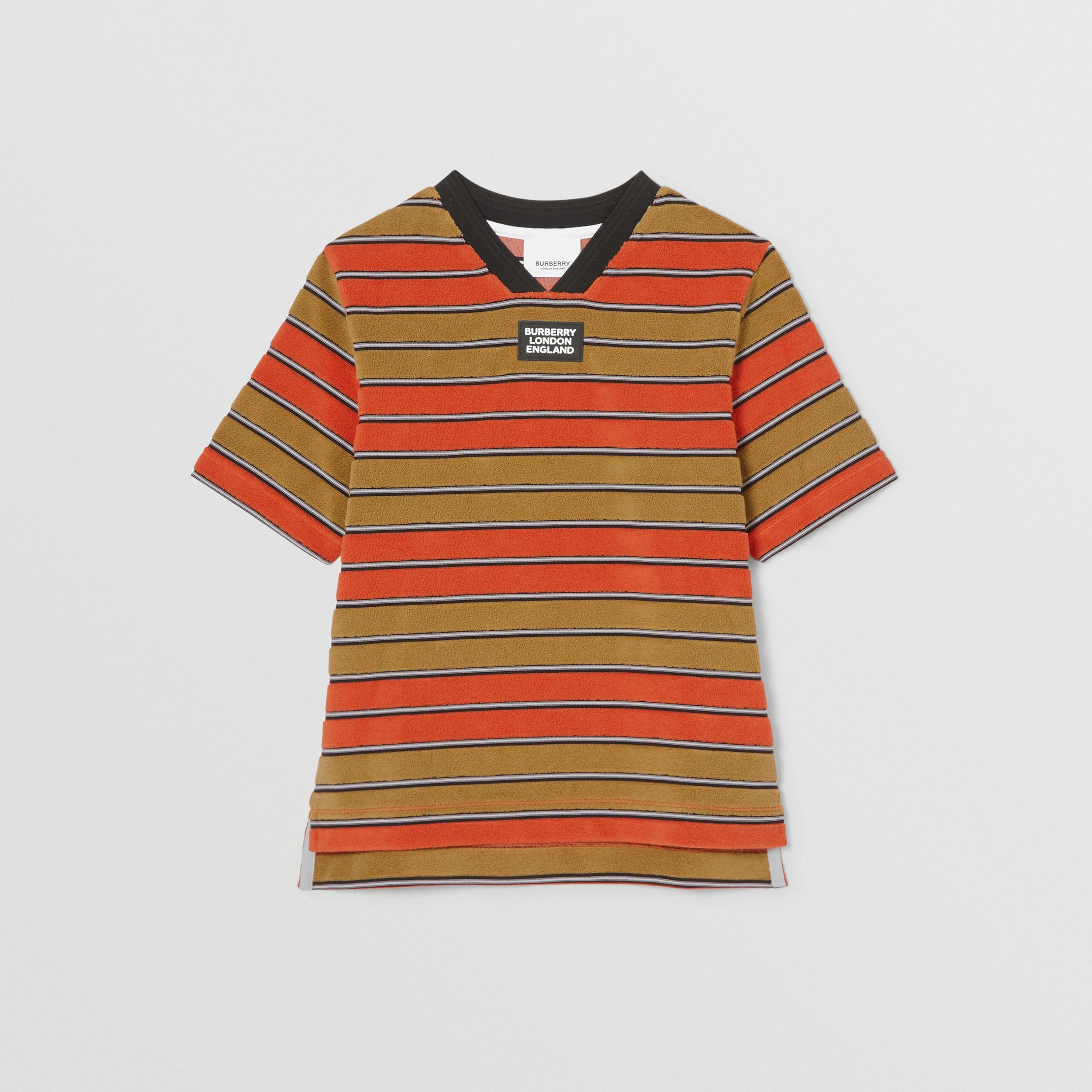 Logo Appliqué Striped Towelling T-shirt in Vermilion Red - Children | Burberry - 1