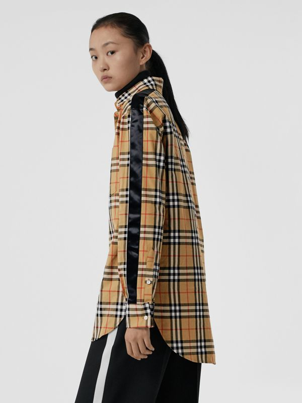 Stripe Detail Vintage Check Cotton Shirt in Antique Yellow - Women | Burberry - cell image 2