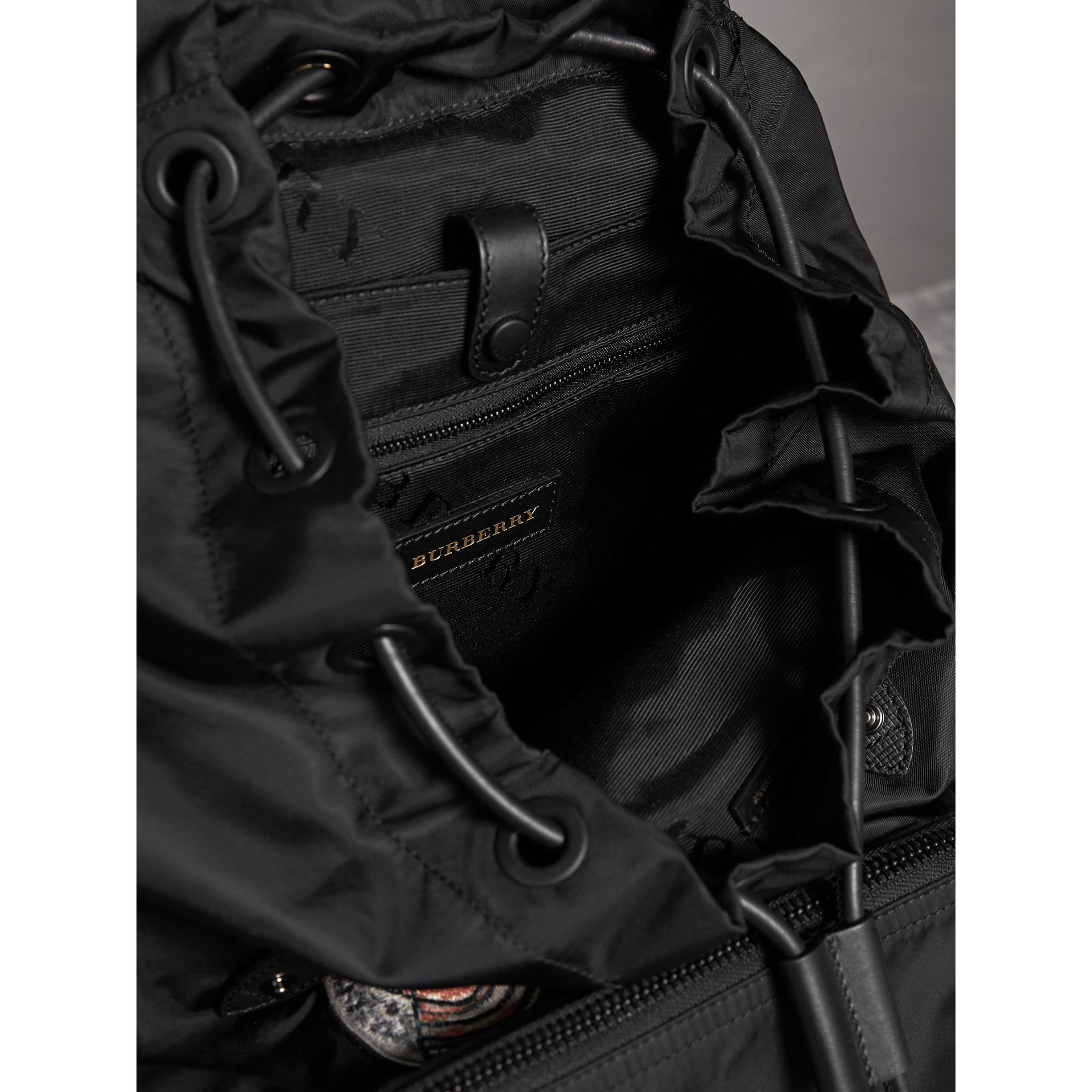 The Large Rucksack in Technical Nylon with Pallas Heads Appliqué in Black - Men | Burberry - gallery image 5