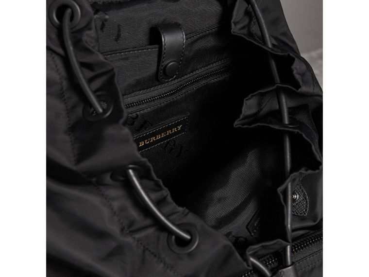 The Large Rucksack in Technical Nylon with Pallas Heads Appliqué in Black | Burberry - cell image 4