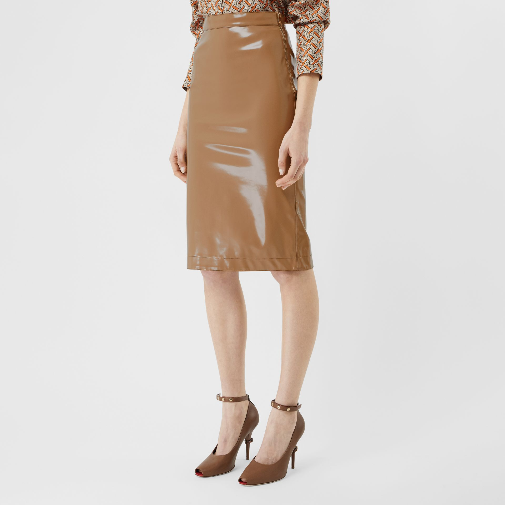 Vinyl Pencil Skirt in Utility Beige - Women | Burberry - gallery image 5