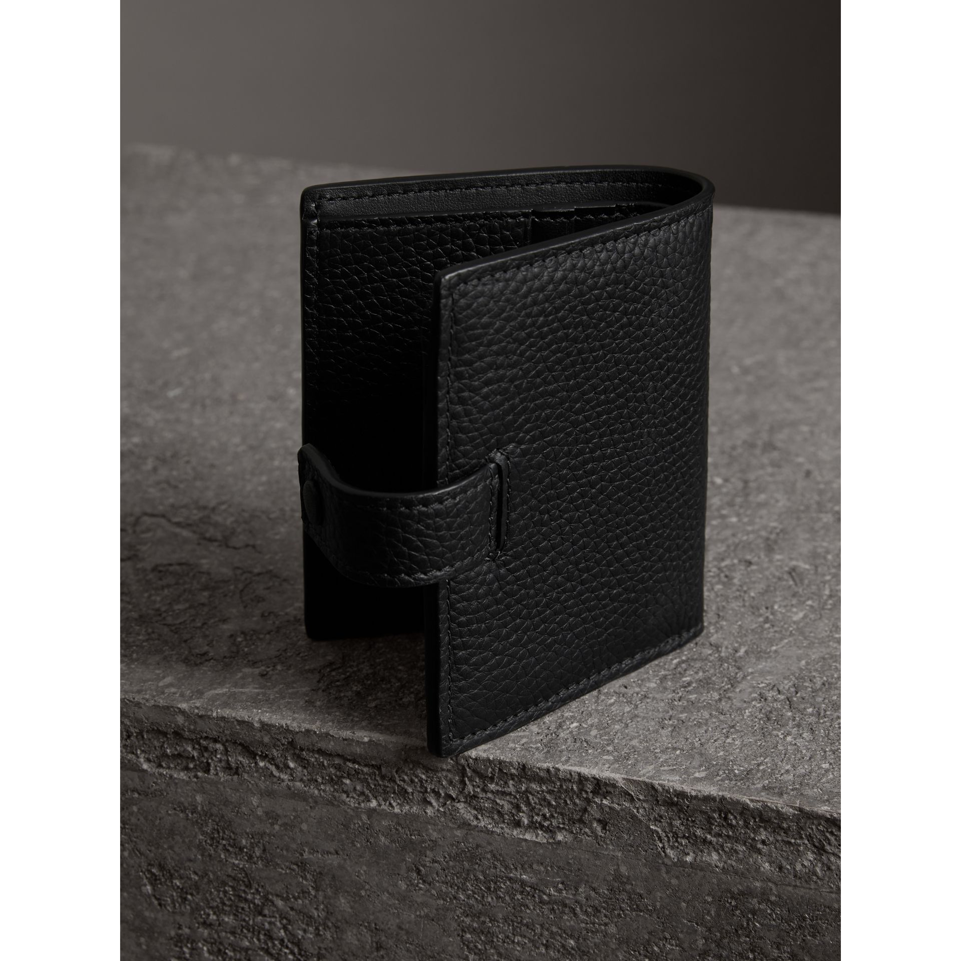 Embossed Leather Folding Wallet in Black - Women | Burberry - gallery image 2