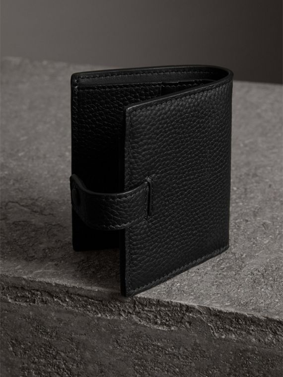 Embossed Leather Folding Wallet in Black - Women | Burberry Australia - cell image 2