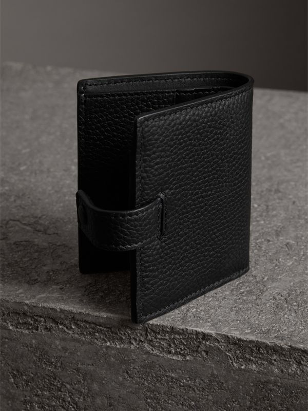 Embossed Leather Folding Wallet in Black - Women | Burberry United States - cell image 2