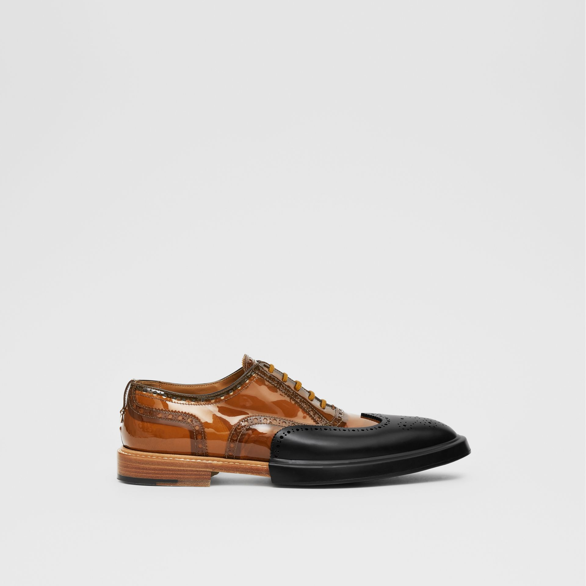 Toe Cap Detail Vinyl and Leather Oxford Brogues in Brown/black - Men | Burberry - gallery image 4
