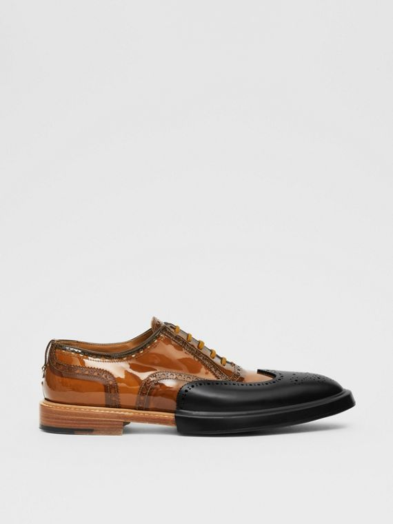 Toe Cap Detail Vinyl and Leather Oxford Brogues in Brown/black