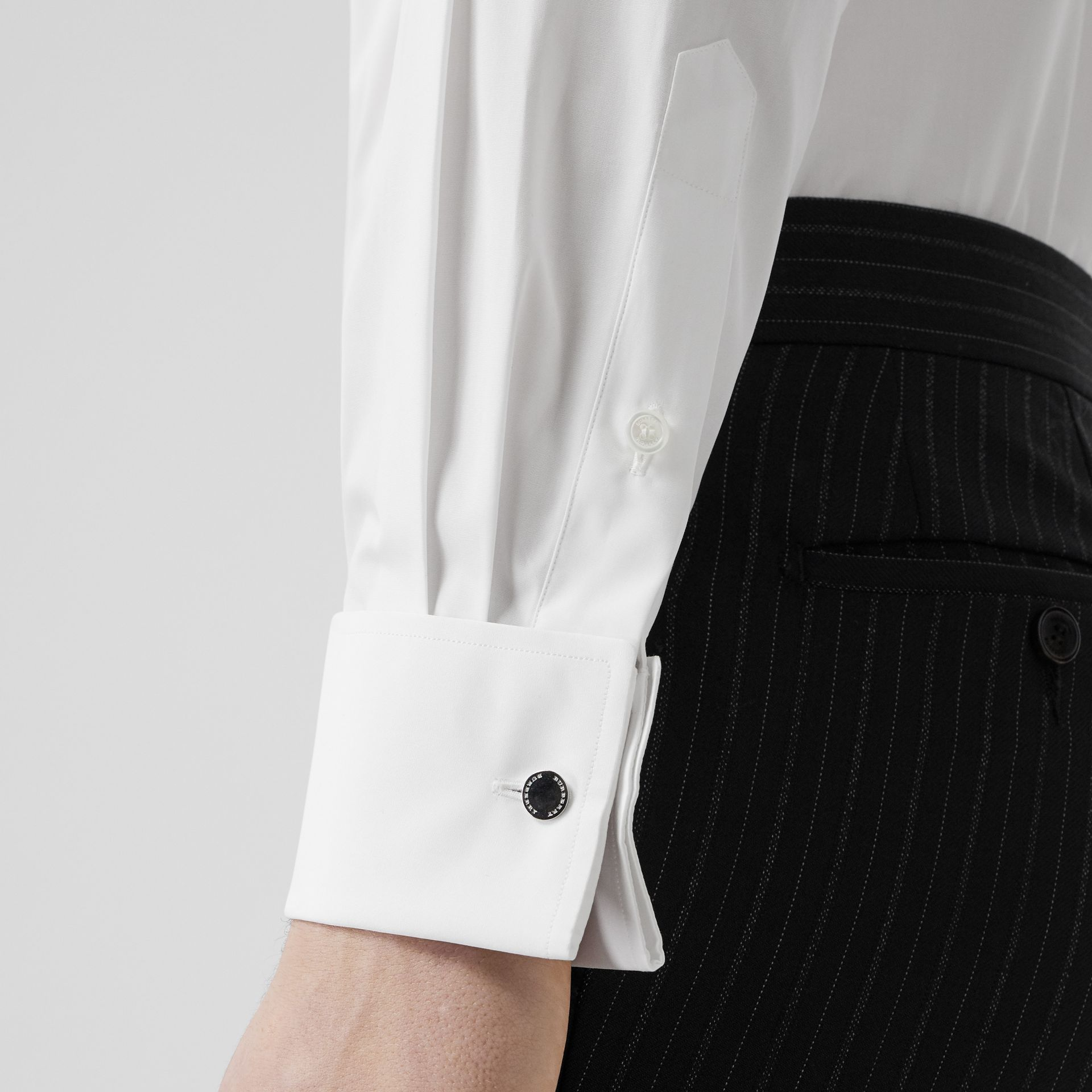 Slim Fit Monogram Motif Cotton Poplin Shirt in White - Men | Burberry - gallery image 4