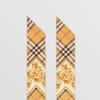 Archive Scarf Print Silk Skinny Scarf in Multicolour
