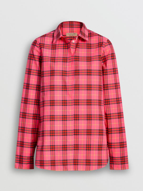 Check Cotton Shirt in Coral Red - Women | Burberry - cell image 3