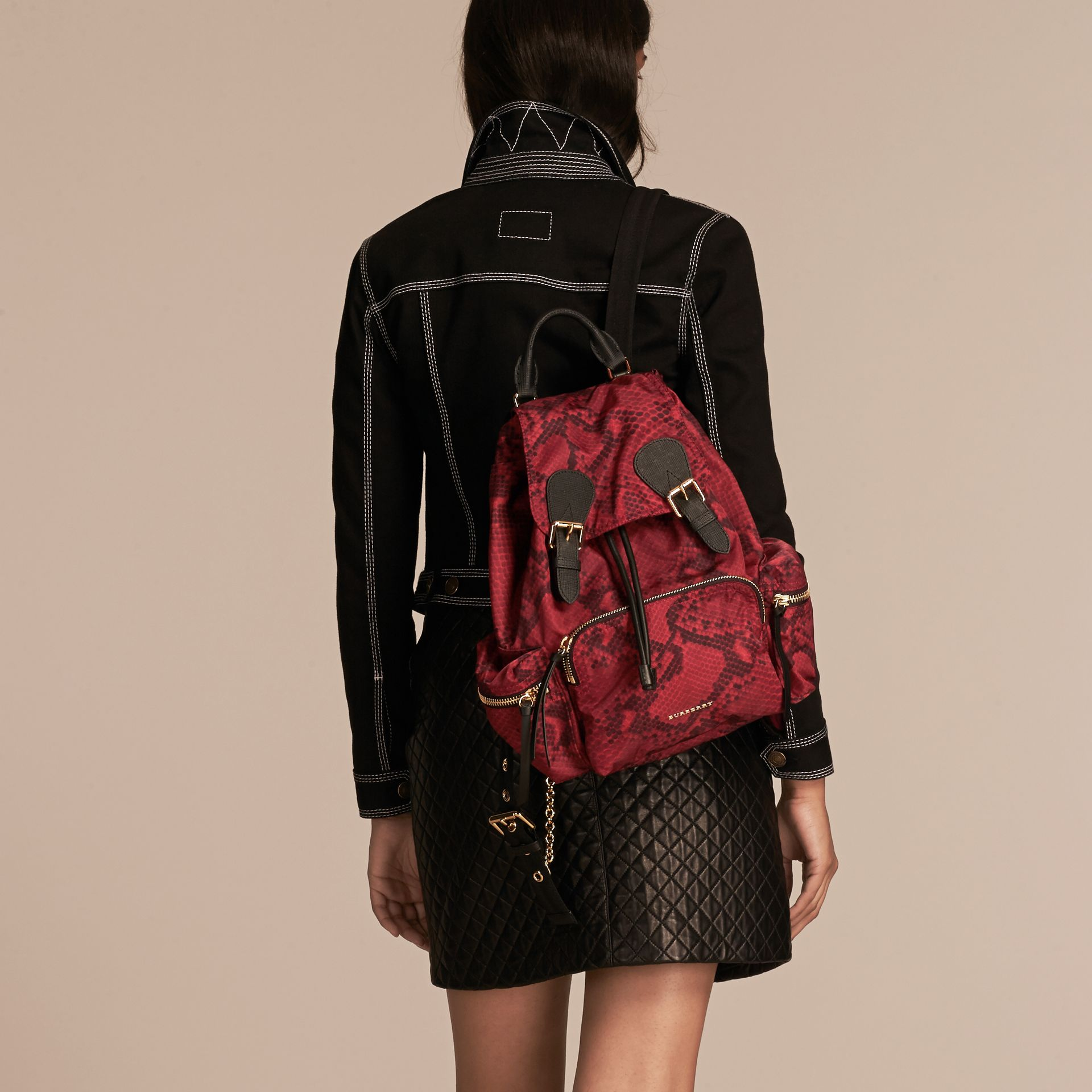 The Medium Rucksack in Python Print Nylon and Leather in Burgundy Red - gallery image 3