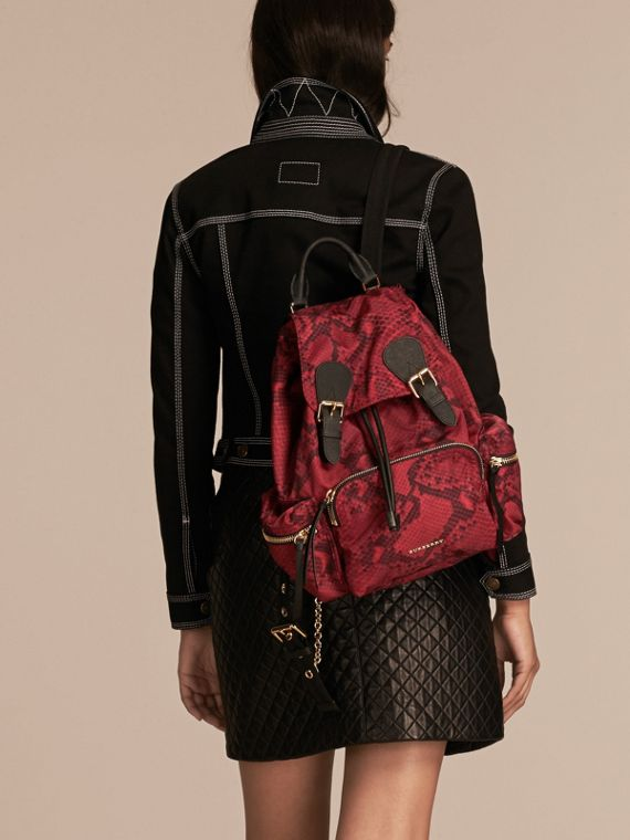 The Medium Rucksack in Python Print Nylon and Leather in Burgundy Red - cell image 2