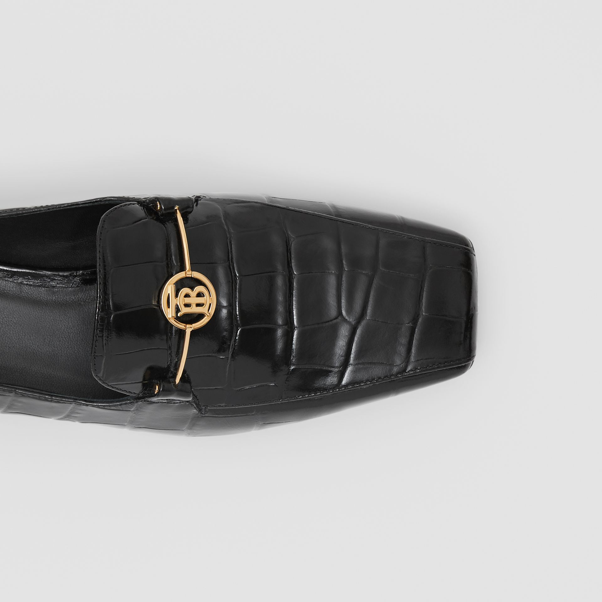 Monogram Motif Embossed Leather Loafers in Black - Women | Burberry - gallery image 1