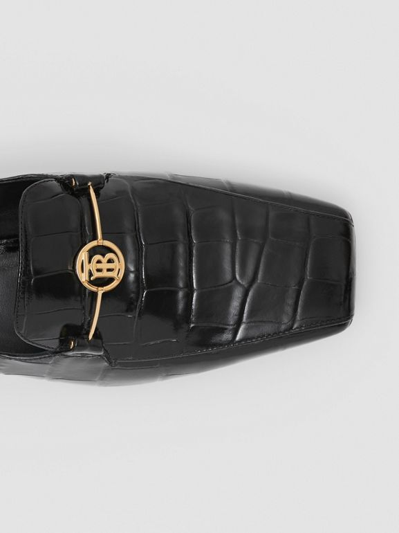 Monogram Motif Embossed Leather Loafers in Black - Women | Burberry - cell image 1